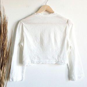 Vintage Tops - Vintage White gauze cotton front tie crop top